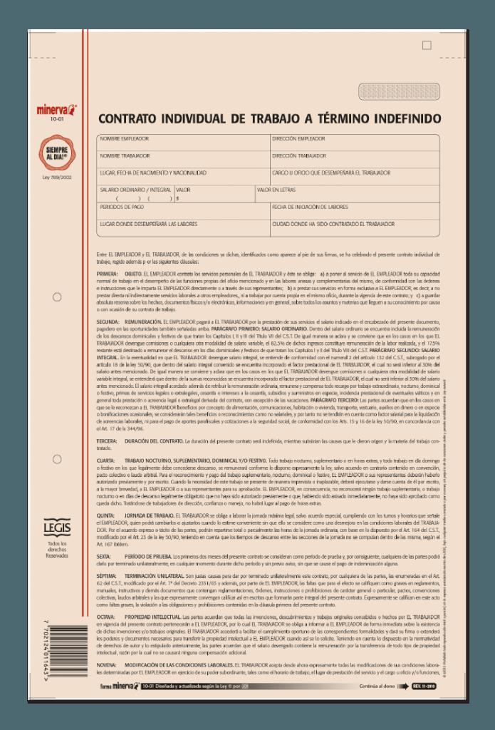 Papeler a modelo contrato individual de trabajo a for Modelo contrato de trabajo servicio domestico 2015