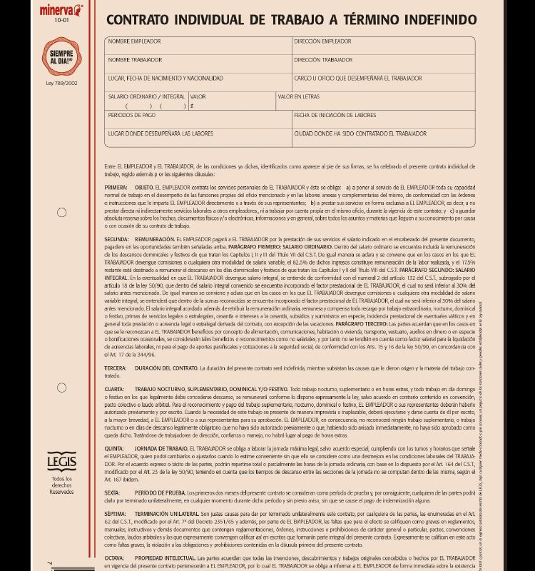 Modelo de contrato individual de trabajo a trmino papeler for Modelo contrato indefinido