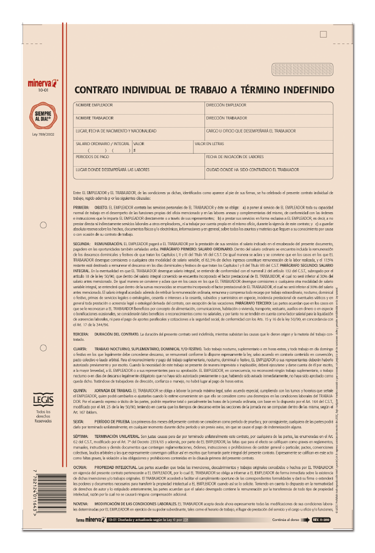 Papeler a modelo contrato individual de trabajo a for Modelo contrato empleada de hogar indefinido