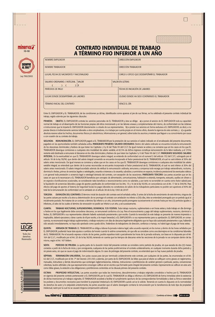 Papeleria Modelo Contrato Individual De Trabajo Inferior A Un Ano